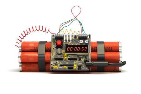 Soporte de dispositivo de bomba explosiva de dinamita sobre un fondo blanco aislado. Representación 3d