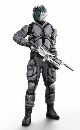 Ilustración vertical de longitud completa de un soldado blindado futurista enmascarado sobre un fondo blanco aislado. Representación 3d