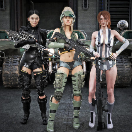 Portrait of a group of special operations females posing in front of all terrain vehicles . Science fiction 3d rendering Zdjęcie Seryjne - 125268283