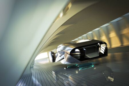 Futuristic luxury sports car hovering at high speeds through a modern interior tunnel . 3d rendering innovation concept