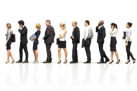 Group of business people standing in line on a white reflective background. 3d rendering
