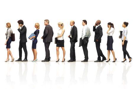 Gruppe von Geschäftsleuten, die auf einem weißen reflektierenden Hintergrund in der Schlange stehen. 3D-Rendering