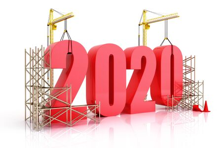 Year 2020 growth, building, improvement in business or in general concept in the year 2020, 3d rendering on a white background Zdjęcie Seryjne