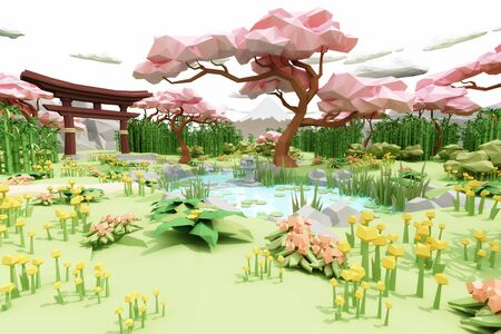 Low polygon Illustration cartoon style of a asian Japanese garden. 3d rendering Stock Photo