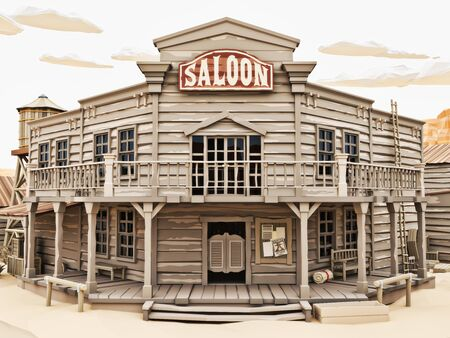 Low polygon Illustration toon style of a western town Saloon with various buildings. 3d rendering