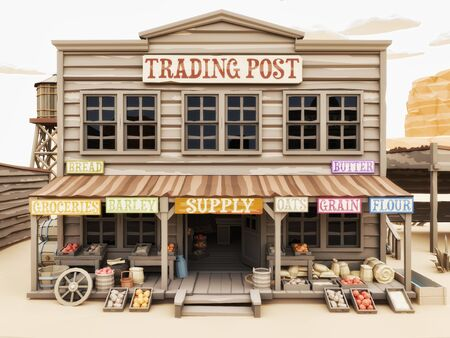 Low polygon Illustration toon style of a western town Trading Post with various groceries and goods. 3d rendering Stock Photo