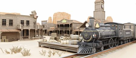 Low polygon Illustration toon style of a western town train station with various businesses. 3d rendering