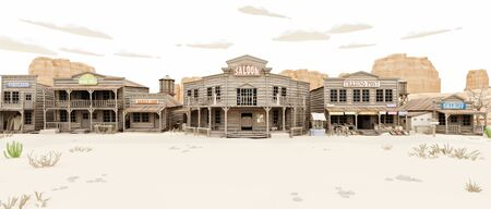 Wide side view of a rustic antique Low Polygon Western town with various businesses. 3d rendering