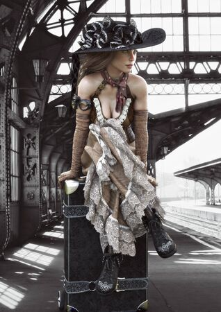 Portrait of a beautiful steampunk dressed woman in traditional clothing traveling with a suitcase waiting for the train. 3d rendering
