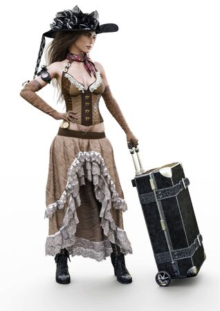 Portrait of a beautiful steampunk dressed woman in traditional clothing traveling with a suitcase on a white background. 3d rendering
