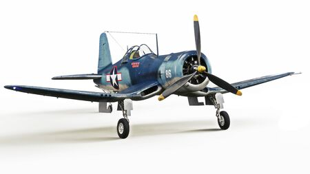 Vintage allied F4u Pacific theater fighter plane on a white isolated background. 3d rendering Zdjęcie Seryjne