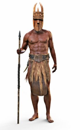Portrait of an intimidating bare footed strong African tribal hunter with spear and wooden mask on an isolated white background. 3d rendering Zdjęcie Seryjne