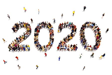 Bringing in the new year , or 2020 goals concept. Large group of people forming the shape of the text 2020 celebrating a new year concept on a white background. 3d rendering