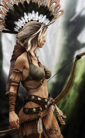 Native American Indian female wearing traditional outfit and armed with a bow and arrow is out hunting for her tribe. 3d rendering