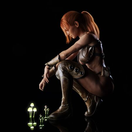 Side portrait of a fantasy red headed warrior female posing on a reflective surface after a unique mystical discovery with a black background. 3d rendering