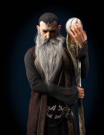 Evil Warlock ancien sorcier posant avec le personnel sur un fond sombre. rendu 3D