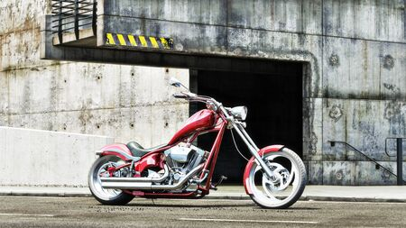 Custom red motorcycle with an industrial grunge background. 3d rendering