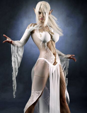Portrait of a powerful fantasy dark elf female sorceress with white long hair and silky see through dress. 3d rendering . Fantasy illustration