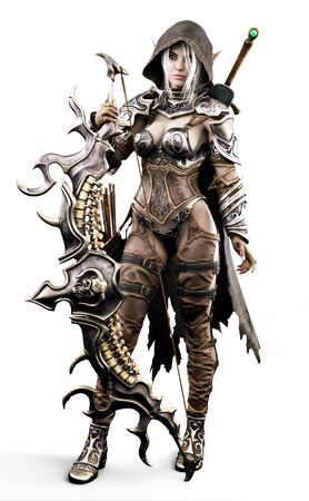 Portrait of a fantasy heavily armored hooded dark elf female archer warrior with white long hair and equipped with a bow and sword . 3d rendering. Fantasy illustration on an isolated white background. Stock Photo