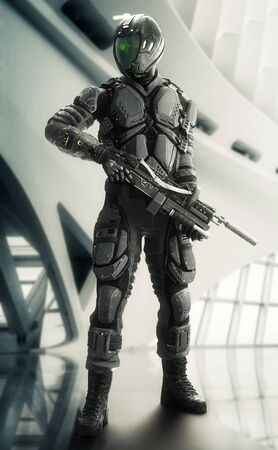 Portrait of a armed masked futuristic armored soldier posing with a modern interior background. 3d rendering