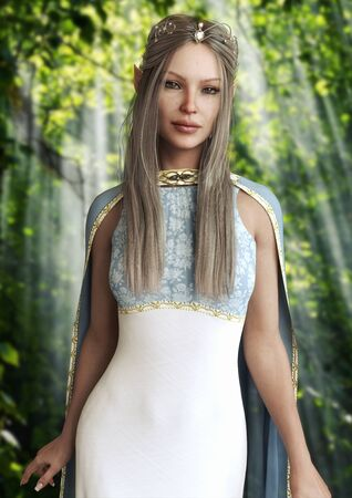 Vertical portrait of the queen of the elves female with an elegant dress and tiara with long platinum hair posing in the enchanted woods.Fantasy 3d rendering .