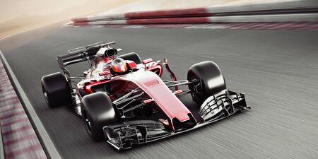 Motorsport competitieve teamraces. Snel bewegende generieke raceauto die over de baan racet met bewegingsonscherpte. 3D-rendering met ruimte voor tekst of kopieerruimte