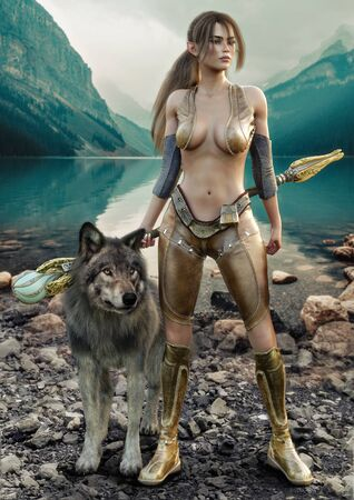 Portrait of a female magical Druid holding her enchanted staff and posing with her tamed wolf from the wild. Fantasy themed character with stunning mountains backdrop and lake background. 3d rendering