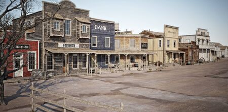 Wide angled view of a rustic antique Western town with various businesses. 3d rendering