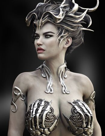 Sexy portrait of a female witch wearing a unique bones with metal silver inlay costume on a dark background. 3d rendering