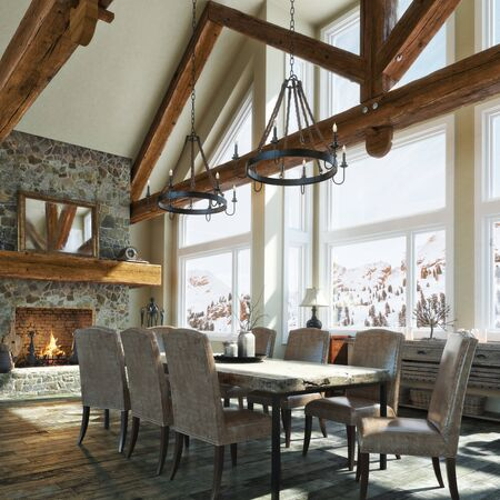 Luxurious open floor rustic cabin interior dinning room design with roaring stone fireplace and winter scenic background. Photo realistic 3d rendering Zdjęcie Seryjne