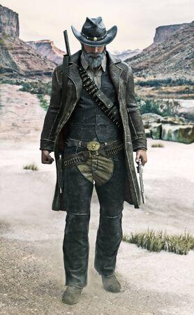 Retrato de un vaquero canoso con eslinga de pistola caminando hacia la cámara con el arma desenvainada. Ilustración de renderizado 3D
