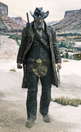 Portrait of a grizzled gun slinging cowboy walking toward the camera with weapon drawn . 3d rendering illustration
