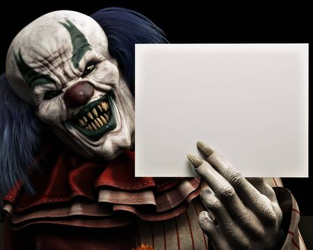 Frightening scary clown with sharp fangs piercing the darkness holding a black advertisement card with room for your text or copy space. 3d rendering