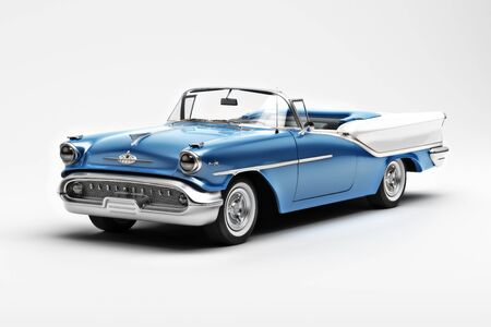 Editorial Illustration of a 1957 Oldsmobile star fire 98 convertible. 3d rendering Zdjęcie Seryjne