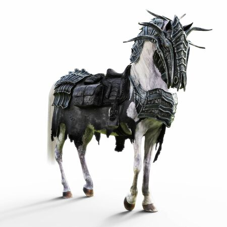 Angled view of a posing armored white war horse on a isolated white background. 3d rendering