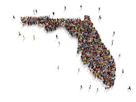 Persone che visitano la Florida. Grande gruppo di persone che camminano e formano la forma della Florida. Concetto di turismo, vacanza, sovraffollamento, crescita, pensionamento, trasloco e trasferimento. rendering 3d Archivio Fotografico