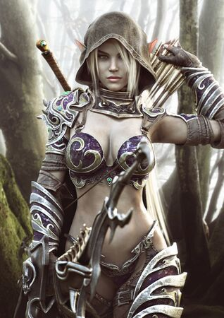 The land of the elves . Portrait of a fantasy heavily armored hooded dark elf female archer warrior with white long hair and equipped with a bow . 3d rendering . Fantasy illustration 写真素材
