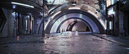 Urban city retro futuristic back drop tunnel background with neon accents. Neo-noir style 3d rendering. Banco de Imagens