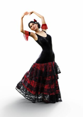 Latin American female wearing traditional flamenco dress performing on a white background. 3d rendering