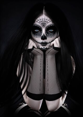 Portrait of a sitting blue eyed female wearing sugar skull style make up with long black hair and dressed with Gothic accents. 3d rendering