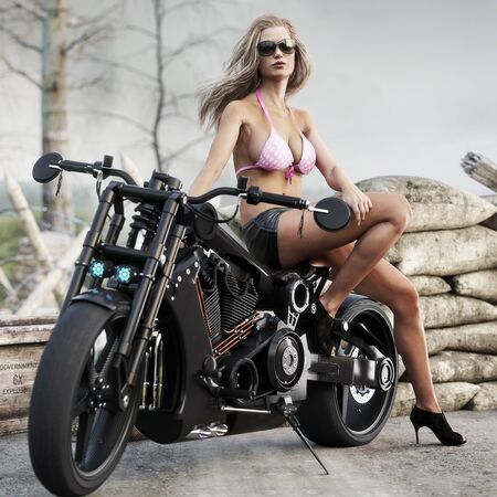 Portrait of a long blonde haired female wearing shorts and a polka dotted pink bikini top posing with her custom chopper motorcycle with a rugged military styled background. 3d rendering illustration