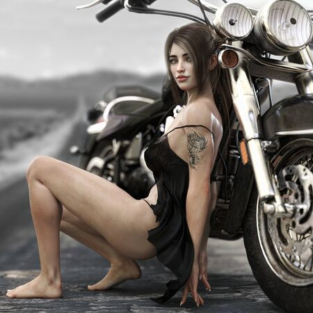 Portrait of a long brown haired female wearing a black baby doll lingerie outfit posing against her custom chopper motorcycle with an endless road background. 3d rendering illustration. 写真素材
