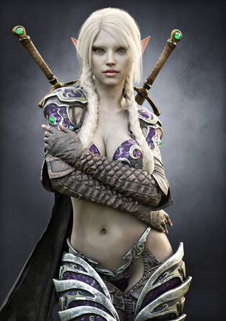 Portrait of a stunning exotic fantasy dark elf female warrior with white long braided hair, armored and equipped with duel sword weapons. 3d rendering . Fantasy illustration Stock Photo