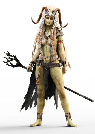 Portrait of a fantasy female orc shaman with staff and native outfit including a cloak and horned skull headdress on a white background. 3d rendering
