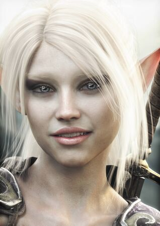 Close up portrait of a adorable fantasy warrior female elf character with white hair .3d rendering