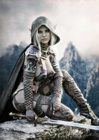 Ritratto di una guerriera elfo scuro con cappuccio fantasy con lunghi capelli bianchi e dotata di una spada in posa su un'alta scogliera con montagne sullo sfondo distante. Rendering 3D Illustrazione di fantasia Archivio Fotografico