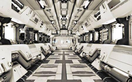 Futuristic metal Sci-Fi Corridor tunnel or ship interior . 3d rendering illustration . 3d render