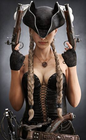 Portrait of gorgeous sexy pirate bounty hunter female with long braided brown hair. Young mysterious woman is wearing a black corset bustier, tricorn hat , gun belt and armed with pistols.3d rendering