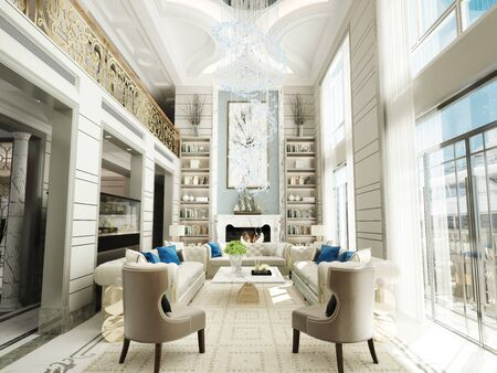Luxury estate family room open interior with high ceilings, chandelier, ocean view and yacht. Photo realistic 3d scene. 3d rendering