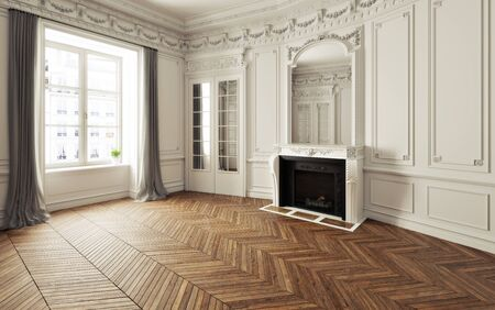 Empty room of an elegant residence with fireplace ,white trim Victorian accent interior space and herringbone wood flooring. Photo realistic 3d illustration. 3d rendering 스톡 콘텐츠 - 134339682